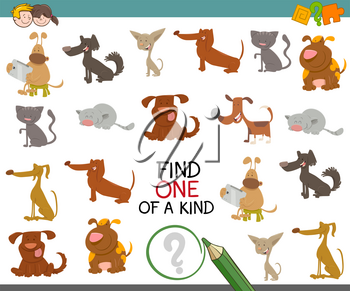 Cartoon Illustration of Find One of a Kind Educational Activity Game for Preschool Kids with Dogs Animal Characters