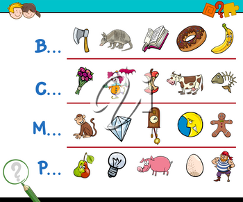 Cartoon Illustration of Finding Picture which Name Starts with Referred Letter Educational Activity for Children