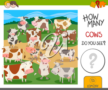 Cartoon Illustration of Educational Counting Activity for Kids with Funny Cows Farm Animal Characters