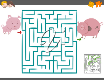 Cartoon Illustration of Education Maze or Labyrinth Leisure Game with Piglet and Pig