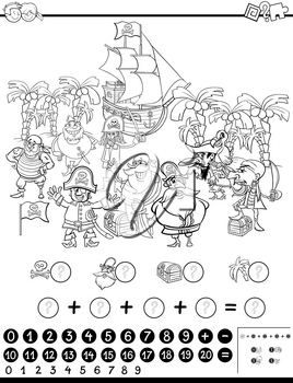 Black and White Cartoon Illustration of Educational Mathematical Activity Game for Children with Pirate Characters Coloring Page