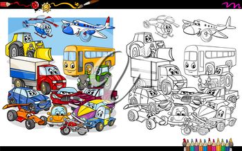 Cartoon Illustration of Transport Vehicle Characters Group Coloring Book Activity