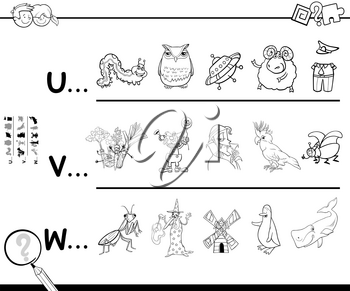 Black and White Cartoon Illustration of Searching Pictures Starting with Referred Letter Educational Game for Children Coloring Book