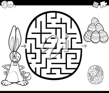 Black and White Cartoon Illustration of Education Maze or Labyrinth Game for Children with Easter Characters Coloring Page
