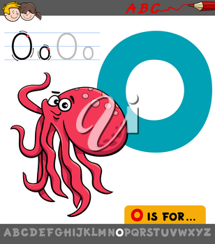 Educational Cartoon Illustration of Letter O from Alphabet with Octopus Animal Character for Children