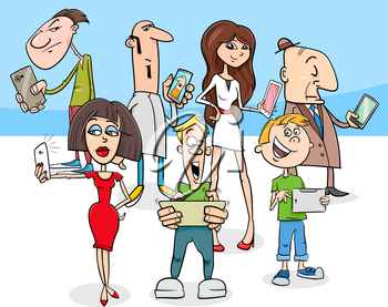 Cartoon Illustration of People Group with Smart Phones New Technology Electronic Devices