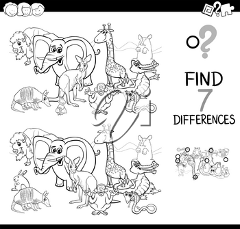 Black and White Cartoon Illustration of Searching Differences Between Pictures Educational Activity Game for Children with Wild Animal Characters Group Coloring Book