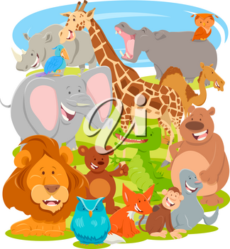 Cartoon Illustration of Cute Wild Animal Characters Group