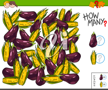 Illustration of Educational Counting Task for Children with Eggplants and Corns on the Cobs