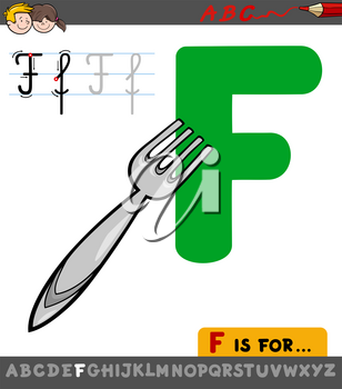 Educational Cartoon Illustration of Letter F from Alphabet with Fork for Children