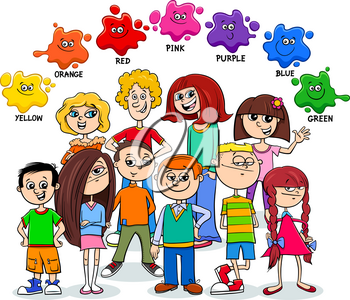 Cartoon Illustration of Basic Colors Educational Worksheet for Kids with Happy Children Characters