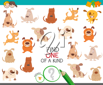 Cartoon Illustration of Find One of a Kind Picture Educational Activity Game with Cute Dogs and Puppies Animal Characters