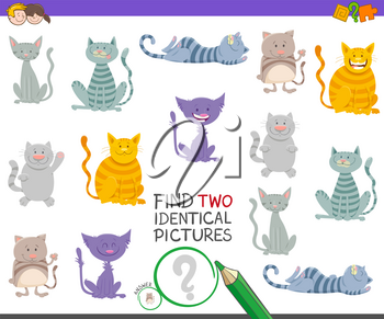 Cartoon Illustration of Finding Two Identical Pictures Educational Activity Game for Children with Happy Cat Characters