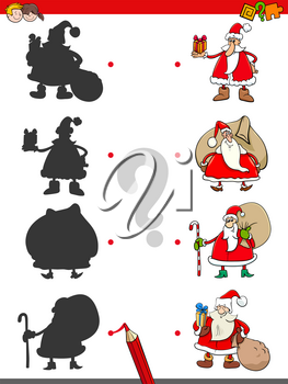 Cartoon Illustration of Matching Shadows Educational Game for Children with Santa Claus Characters