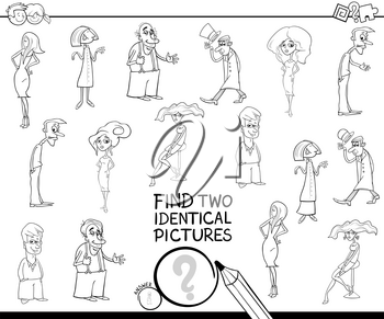 Black and White Cartoon Illustration of Finding Two Identical Pictures Educational Game for Children with Funny People Characters Coloring Book