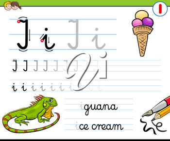 Cartoon Illustration of Writing Skills Practice with Letter I Worksheet for Preschool and Elementary Age Children