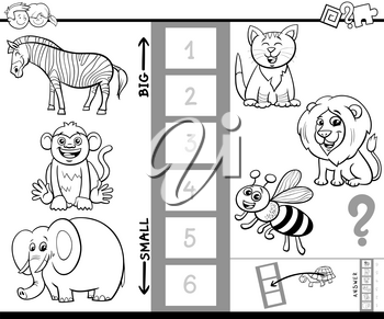 Black and White Cartoon Illustration of Educational Game of Finding the Largest and the Smallest Animal with Funny Characters for Kids Coloring Book