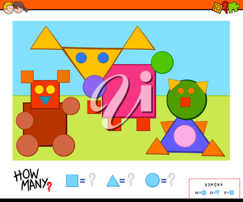 Cartoon Illustration of Educational Counting Shapes Task for Children