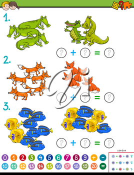 Cartoon Illustration of Educational Mathematical Subtraction Puzzle Task for Kids with Animal Characters