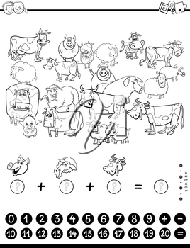 Black and White Cartoon Illustration of Educational Mathematical Counting and Addition Game for Children with Farm Animal Characters Coloring Book