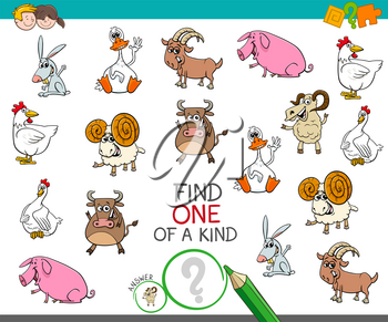 Cartoon Illustration of Find One of a Kind Picture Educational Activity Game for Children with Farm Animal Characters