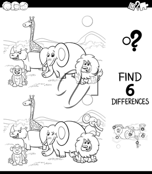 Black and White Cartoon Illustration of Finding Six Differences Between Pictures Educational Game for Children with Safari Wild Animal Characters Coloring Book