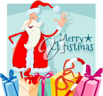 Cartoon Illustration of Christmas Design with Santa Claus Character and Presents