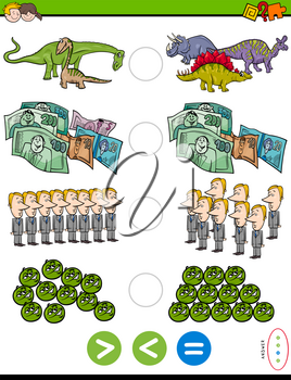 Cartoon Illustration of Educational Mathematical Puzzle Game of Greater Than, Less Than or Equal to for Children