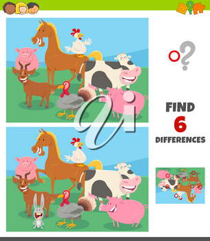 Cartoon Illustration of Finding Differences Between Pictures Educational Game for Children with Happy Farm Animal Characters
