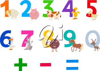 Cartoon Illustration of Numbers Set from Zero to Nine with Happy Farm Animal Characters