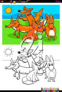 Cartoon Illustration of Funny Foxes Animal Characters Coloring Book Activity