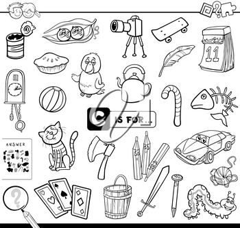 Black and White Cartoon Illustration of Finding Picture Starting with Letter C Educational Game Worksheet for Children Coloring Book