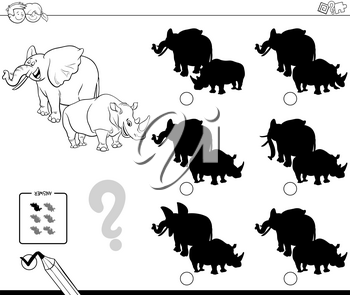 Black and White Cartoon Illustration of Finding the Shadow without Differences Educational Activity for Children with Elephant and Rhinoceros Animal Characters Coloring Book