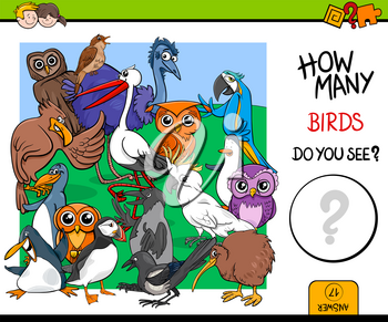 Cartoon Illustration of Educational Counting Activity Game for Children with Bird Characters
