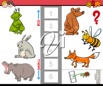 Cartoon Illustration of Educational Activity Game of Finding the Biggest and the Smallest Animal