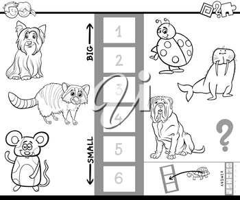 Black and White Cartoon Illustration of Educational Game of Finding the Biggest and the Smallest Animal Species Characters Coloring Book