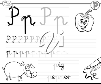 Black and White Cartoon Illustration of Writing Skills Practice with Letter P Worksheet for Preschool and Elementary Age Children Coloring Book