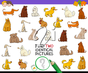 Cartoon Illustration of Finding Two Identical Pictures Educational Activity Game for Children with Dog or Puppy Characters
