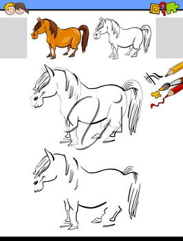 Cartoon Illustration of Drawing and Coloring Educational Activity for Children with Horse or Pony Farm Animal Character