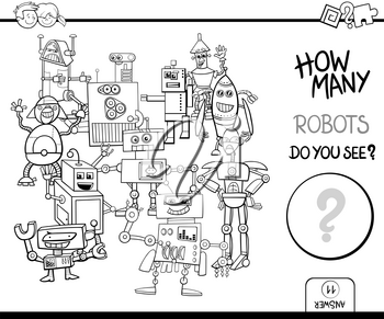 Black and White Cartoon Illustration of Educational Counting Activity Game for Children with Robot Fantasy Characters Coloring Page