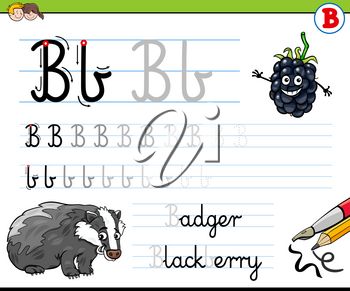 Cartoon Illustration of Writing Skills Practice with Letter B Worksheet for Preschool and Elementary Age Children