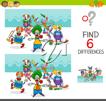 Cartoon Illustration of Finding Eight Differences Between Pictures Educational Activity Game for Kids with Clown Characters Group