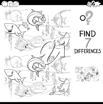 Black and White Cartoon Illustration of Finding Differences Between Pictures Educational Activity Game with Fish Animal Characters in the Sea Coloring Book