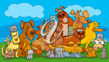 Cartoon Illustration of Dogs and Cats Animal Pet Characters Group