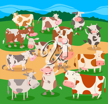 Cartoon Illustration of Funny Cows Farm Animal Comic Characters Group
