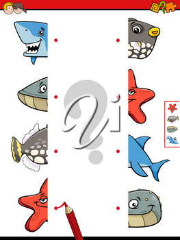Cartoon Illustration of Educational Game of Matching Halves of Sea Life Animal Characters