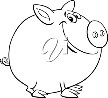 Black and White Cartoon Illustration of Funny Pig Farm Animal Character Coloring Book