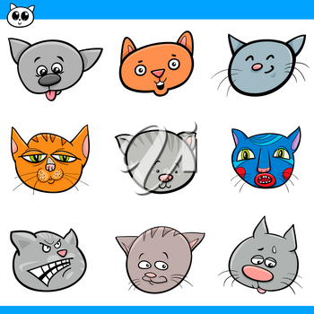Cartoon Illustration of Cute Cats and Kittens Heads Set