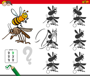 Cartoon Illustration of Finding the Shadow without Differences Educational Activity for Children with Insect Characters