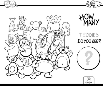 Black and White Cartoon Illustration of Educational Counting Activity Game for Children with Teddy Bears Toy Characters Coloring Book